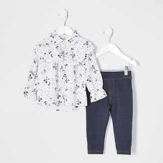 River Island Mini girls White bow printed shirt outfit
