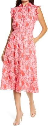 Chelsea28 Floral Ruffle Trim Midi Dress