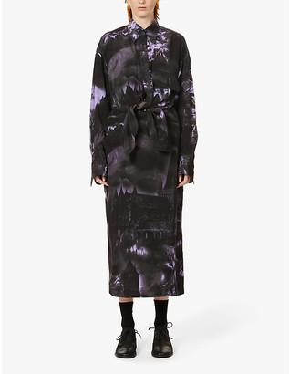 Y's Abstract-print crepe mini shirt dress