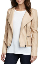 Neiman Marcus Cusp by Faux-Leather Peplum Jacket