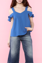 Very J Ruffle Sleeve Cold Shoulder Blouse