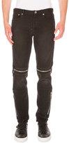 Givenchy Moto Straight-Leg Denim Jeans, Black
