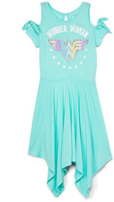 Jerry Leigh Girls' Casual Dresses - Wonder Woman Aqua Shoulder Cutout Handkerchief Dress - Girls