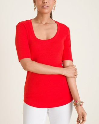 Chico's Ribbed Elbow-Sleeve Tee