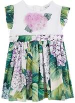 Dolce & Gabbana Flower-Appliquéd Hydrangea-Print Cotton Dress