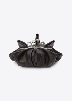 Alexander McQueen Four Ring Gathered Leather Clutch Bag