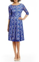 Sangria Tea-Length Midi Lace Fit-and-Flare Dress