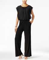 Amy Byer Juniors' Cap-Sleeve Hardware-Trim Jumpsuit