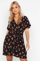 boohoo Plus Floral Tie Waist Wrap Tea Dress