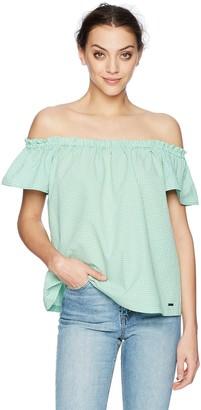 A|X Armani Exchange Women's Plaid Shoulder Top