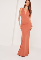 Missguided V Plunge Maxi Dress Orange
