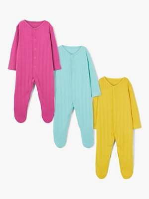 John Lewis & Partners Baby Pointelle Sleepsuit, Pack of 3, Multi