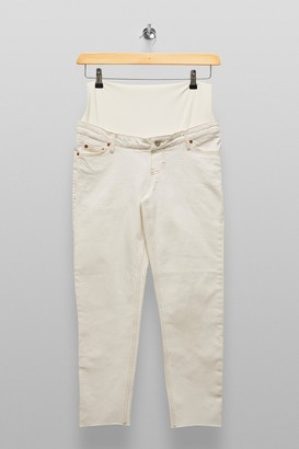 Topshop Womens **Maternity White Over The Bump Straight Jeans - White