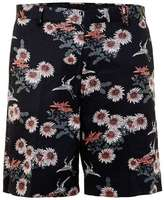 Topman Navy and Coral Floral Print Wide Fit Formal Shorts