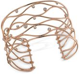 Carolee Rose Gold-Tone Crystal Studded Openwork Cuff Bracelet