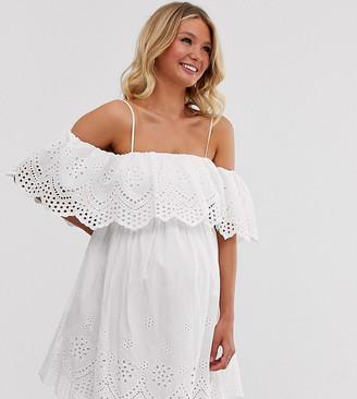 Asos DESIGN Maternity premium double layer off shoulder mini dress in broderie