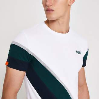 River Island Superdry white colour blocked T-shirt