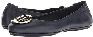 Tory Burch Minnie Travel Ballet Flat (Ink Navy/Gold) Women's Shoes