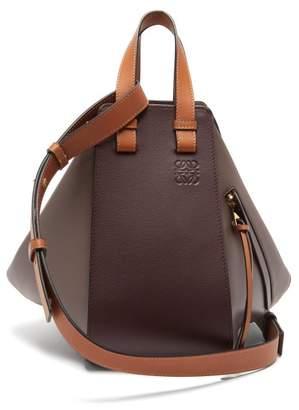 Loewe Hammock Small Tri-colour Leather Bag - Womens - Burgundy Multi