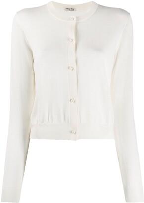 Miu Miu pearl-effect buttons cardigan