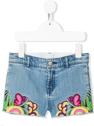 Stella McCartney Floral Embroidered Denim Shorts