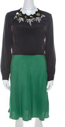 Marni Multicolor Silk Colorblock Floral Embellished Neckline Short Dress M