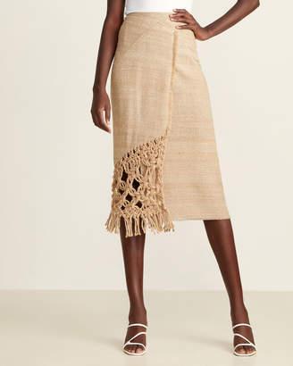 Wheat Silk Wrap Fringe & Hemp Trim Pencil Skirt