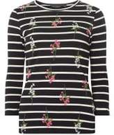 Dorothy Perkins Womens Navy Floral Print Striped Top