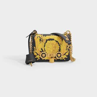 Versace Icon Small Bag In Black Leather With Hibiscus Print