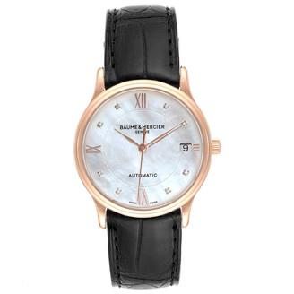 Baume & Mercier MOP Diamond 18K Rose Gold and Leather Classima 10077 Women's Wristwatch 33MM