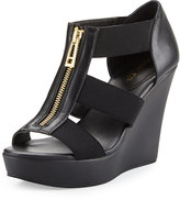 Charles by Charles David Paul Zip-Front Leather Wedge, Black