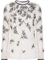 Oscar de la Renta Long Sleeves Threaded Blouse