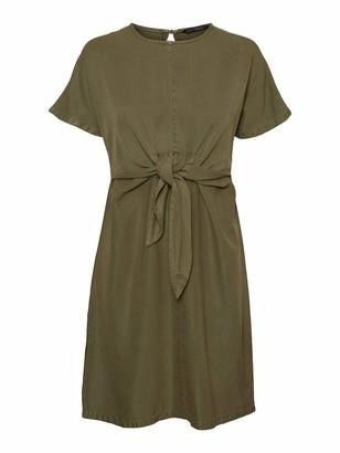Vero Moda Women's VMLAURA SS Front Knot Batwing Dress GA