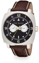 Ted Baker Square Stainless Steel & Leather Multifunction Watch