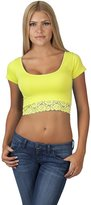Hollywood Star Fashion Women's Short-Sleeve Scoop Neck Lace Hem Crop Top