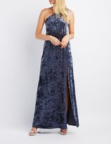 Charlotte Russe Velvet One-Shoulder Maxi Dress