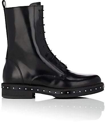 Barneys New York Women's Stud-Detailed Spazzolato Leather Combat Boots - Black
