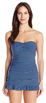 Christina Women's Ocean Pearl Bandeau Swim Dress Tankini with Twist Front