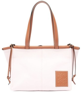 Loewe Paula's Ibiza - Cushion Small Canvas And Leather Tote Bag - Pink