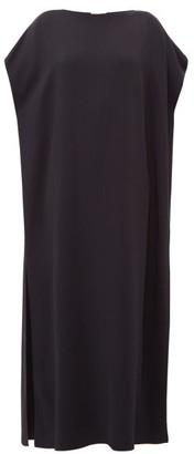 The Row Dunika Boat-neck Cady Maxi Dress - Womens - Navy
