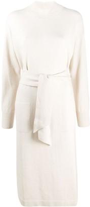 Peserico Tie-Waist Mock Neck Sweater Dress