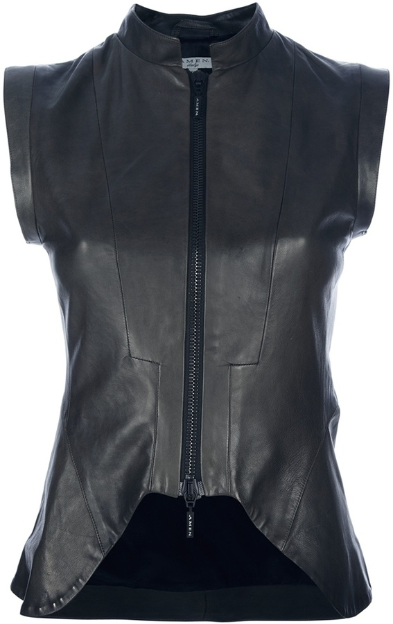 Amen FITTED LEATHER WAISTCOAT