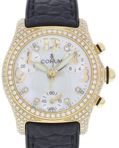 Corum Aqua Bubble 196.153.65 18K Yellow Gold & Rubber wDiamonds Quartz 36mm Womens Watch