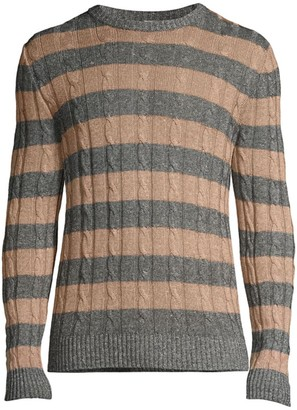 Eleventy Striped Cable Knit Sweater