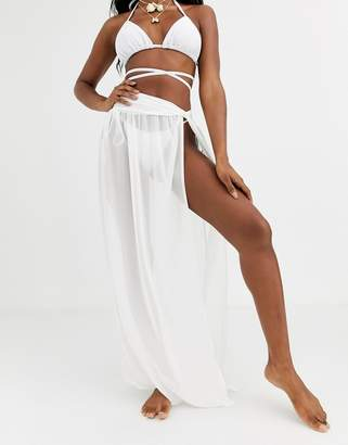 Asos Design DESIGN twist front recycled maxi beach sarong in white