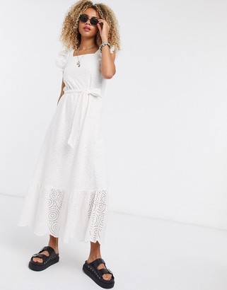 Object broderie maxi dress with square neck and puff sleeves in white