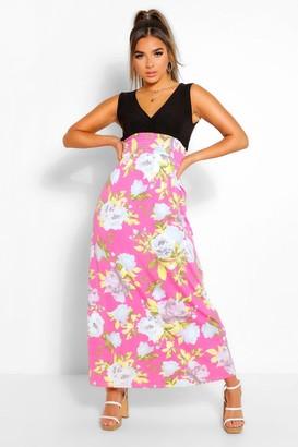 boohoo Petite Floral Print Maxi Dress