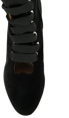 Le Monde Beryl Velvet Lace-Up Ankle Boots
