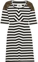 MM6 MAISON MARGIELA Faux Leather-trimmed Striped Stretch-cotton Mini Dress - Black