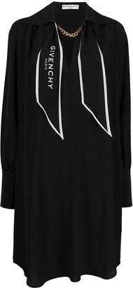 Givenchy Logo-Scarf Silk Shirt-Dress